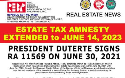 President Rodrigo Duterte signs Republic Act No. 11569 or the act extending the availment of estate tax amnesty until June 14, 2023